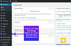 Step-1 Click Settings in WordPress Dashboard